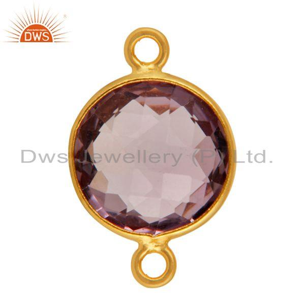 Exporter Natural Amethyst Gemstone Round Cut Sterling Silver Connector - Gold Plated