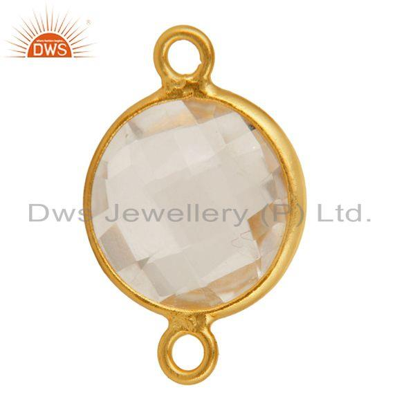 Exporter Natural Crystal Quartz Round Cut Sterling Silver Connector - Gold Plated