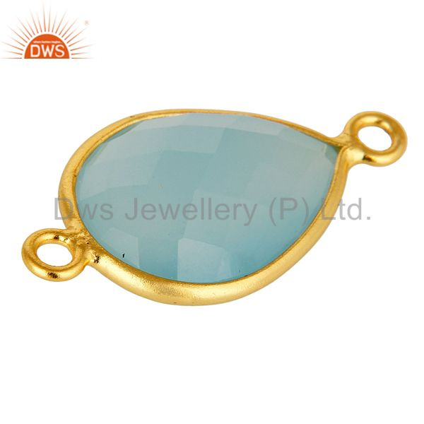 Exporter 18K Yellow Gold Plated Sterling Silver Blue Chalcedony Connector Jewelry
