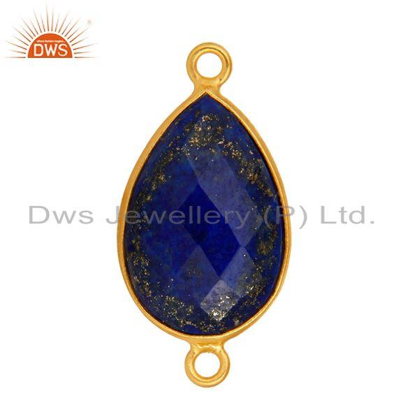 Exporter Natural Lapis Lazuli Gemstone Yellow Gold Plated Sterling Silver Connector