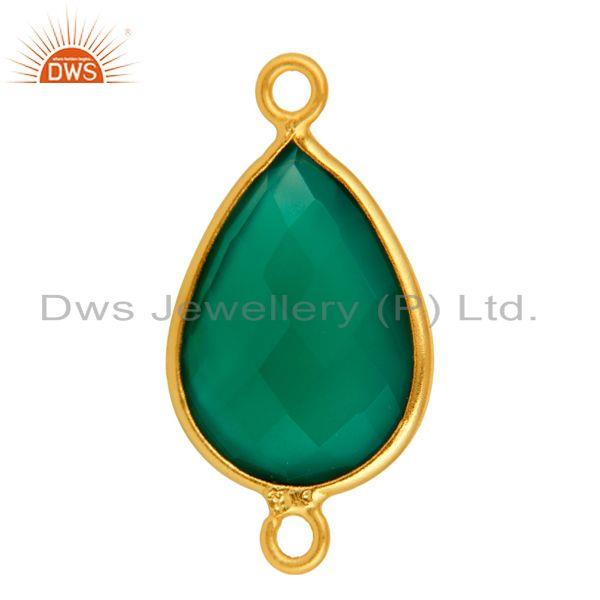 Exporter Faceted Green Onyx Sterling Silver Bezel Set Connector With Gold Plated