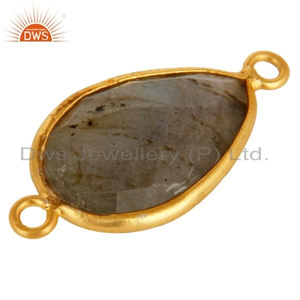 Exporter 18K Gold Plated Sterling Silver Labradorite Gemstone Connector Jewelry