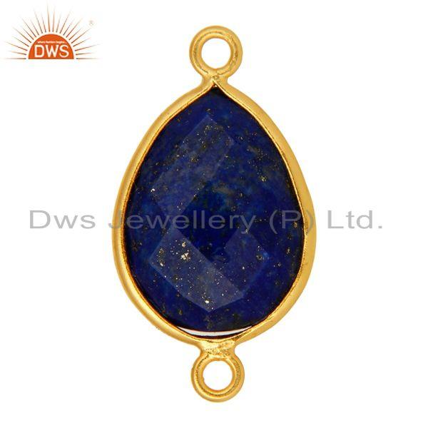 Exporter Natural Lapis Lazuli Gemstone Sterling Silver Connector With Yellow Gold Plated