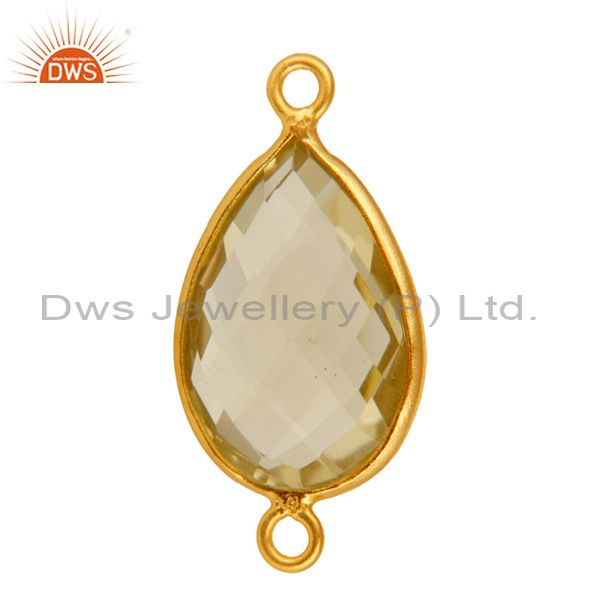 Exporter 925 Sterling Silver Lemon Topaz Connector With Gold Plated