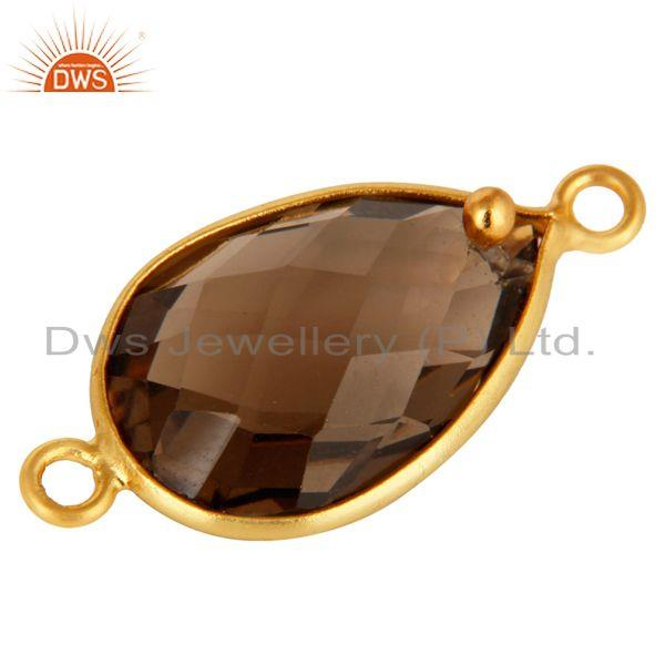 Exporter 18K Gold Plated Sterling Silver Smoky Quartz Bezel Connector Jewelry