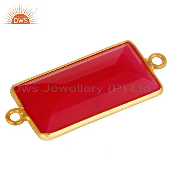 Exporter 18K Gold Plated Sterling Silver Pink Chalcedony Gemstone Bezel Connector Jewelry