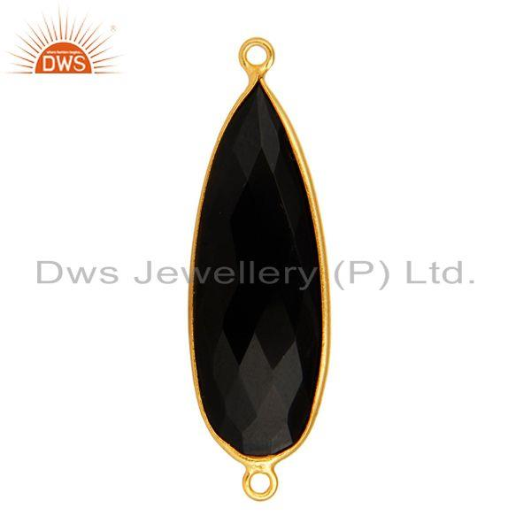 Exporter 18K Gold Plated Sterling Silver Black Onyx Gemstone Connector Jewelry