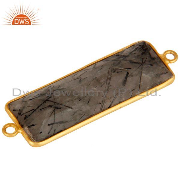 Exporter Gold Plated Sterling Silver Black Rutilated Quartz Gemstone Bezel Set Connector