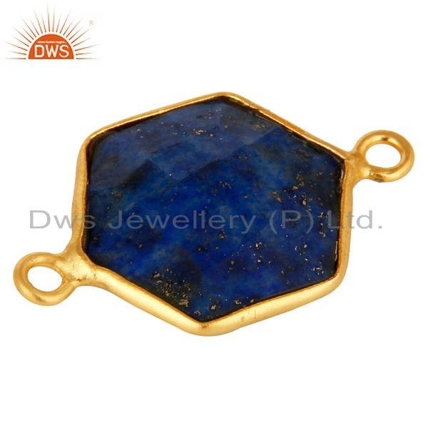 Exporter Handmade Sterling Silver Lapis Lazuli Gemstone Connector With Gold Plated