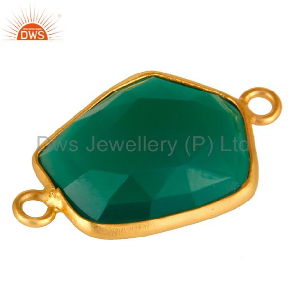 Exporter 18K Yellow Gold Plated Sterling Silver Green Onyx Bezel Set Connector