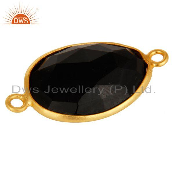 Exporter 18K Gold Plated 925 Sterling Silver Black Onyx Gemstone Connector Jewelry