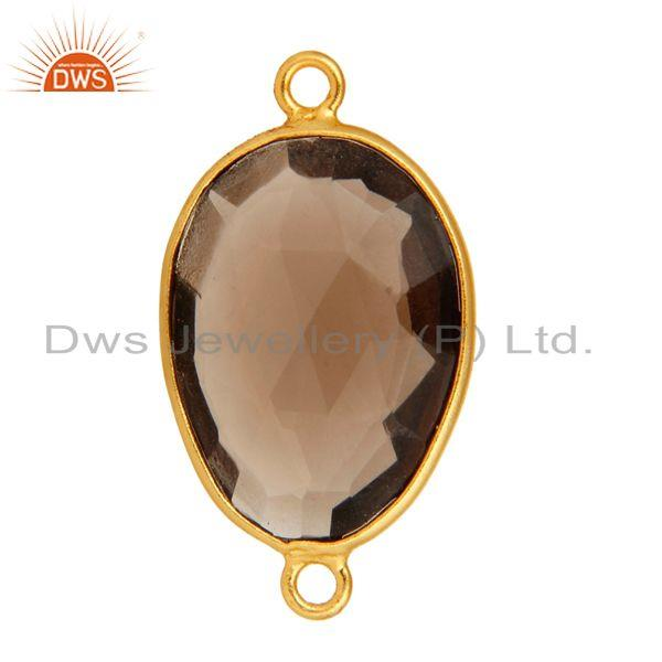 Exporter 18K Gold Plated 925 Sterling Silver Smoky Quartz Gemstone Connector