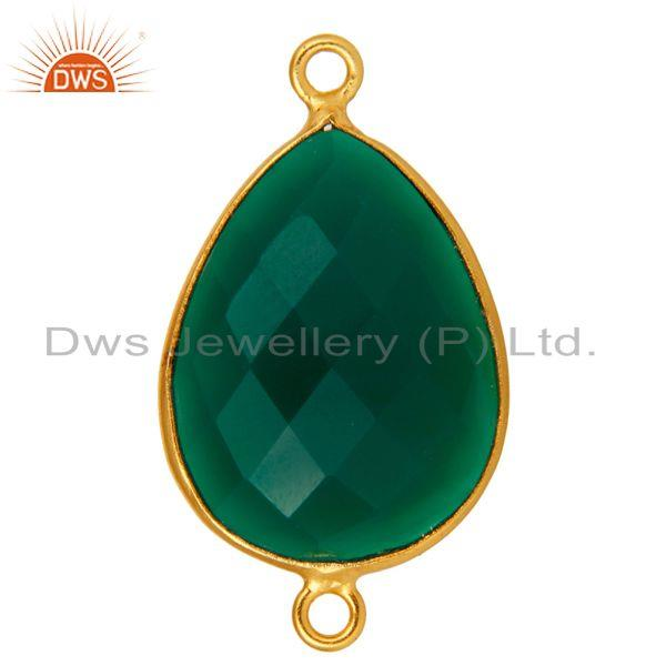 Exporter 18K Gold Plated 925 Sterling Silver Green Onyx Gemstone Bezel Connector Jewelry