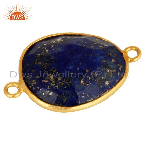 Exporter 18K Yellow Gold Plated Sterling Silver Lapis Lazuli Gemstone Bezel Set Connector