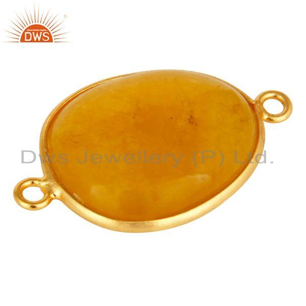Exporter 18K Yellow Gold Plated Sterling Silver Yellow Aventurine Connector Jewelry