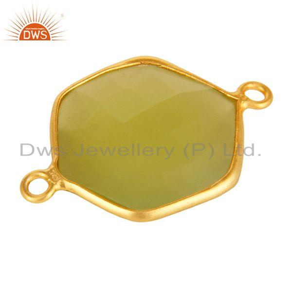 Exporter 18K Yellow Gold Plated Sterling Silver Prehnite Green Chalcedony Connector