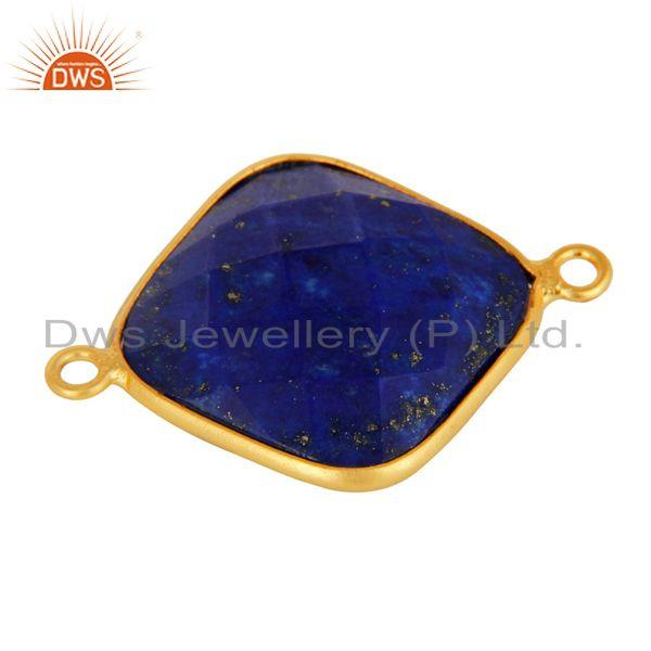 Exporter Natural Lapis Lazuli Faceted Gemstone Sterling Silver Connector With Gold Plated