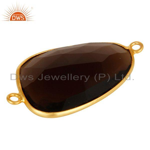 Exporter 18K Gold Over Sterling Silver Faceted Smoky Quartz Gemstone Connector Jewelry