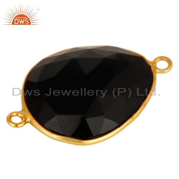 Exporter 18K Yellow Gold Plated Sterling Silver Faceted Black Onyx Gemstone Connector