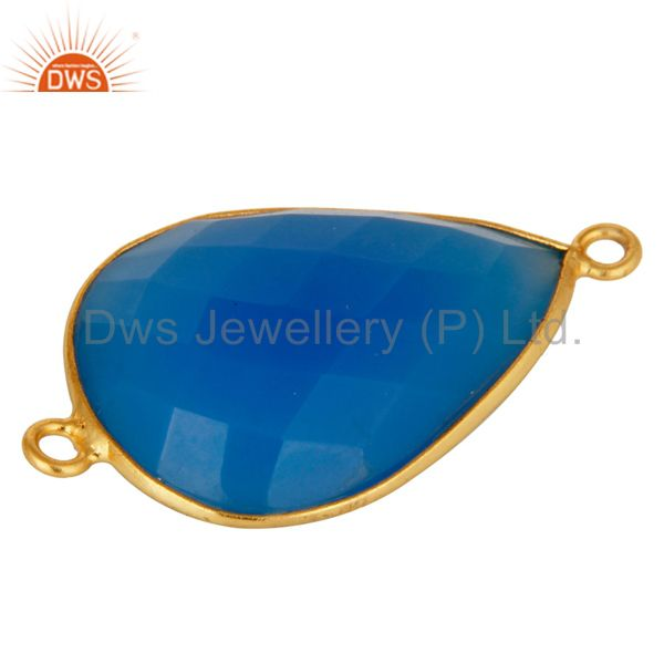 Exporter 18K Gold Over Sterling Silver Dyed Blue Chalcedony Gemstone Connector Jewelry