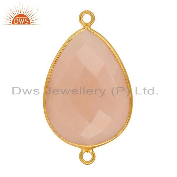 Exporter 18K Gold Over Sterling Silver Dyed Rose Chalcedony Gemstone Connector