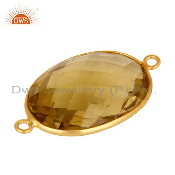 Exporter Oval Cut Lemon Topaz Sterling Silver With Gold Plated Connector Jewelry