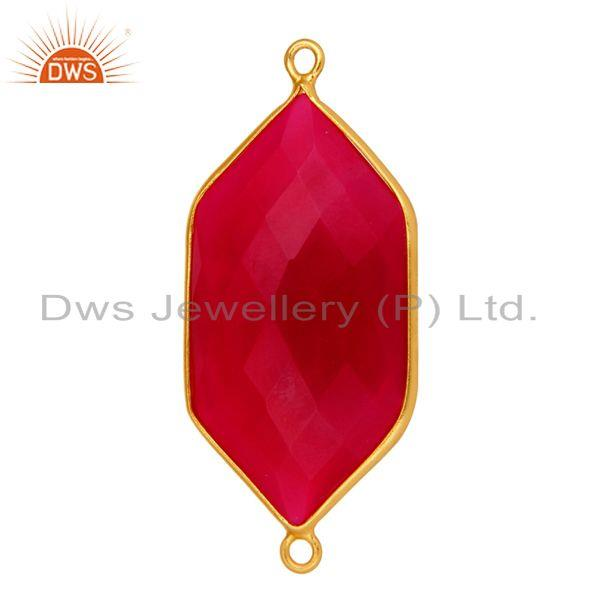 Exporter Bezel-Setting Pink Chalcedony Gemstone Gold Plated Sterling Silver Connector