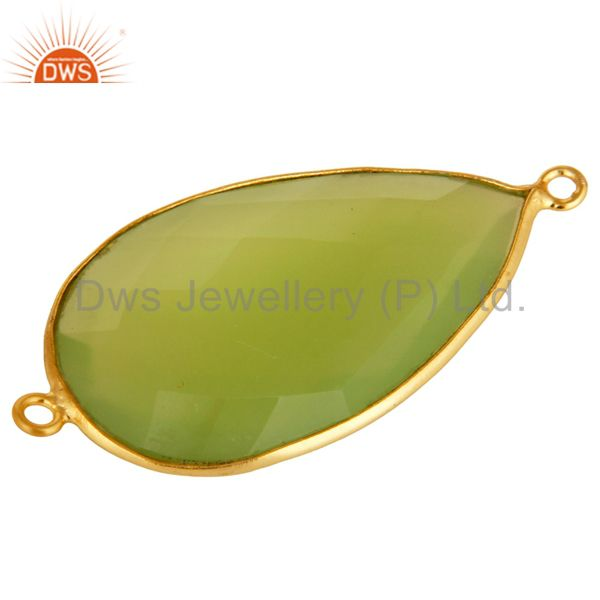 Exporter 18K Gold Plated Sterling Silver Green Chalcedony Gemstone Connector