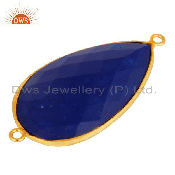 Exporter Natural Lapis Lazuli Gemstone Gold Plated Sterling Silver Connector Jewelry