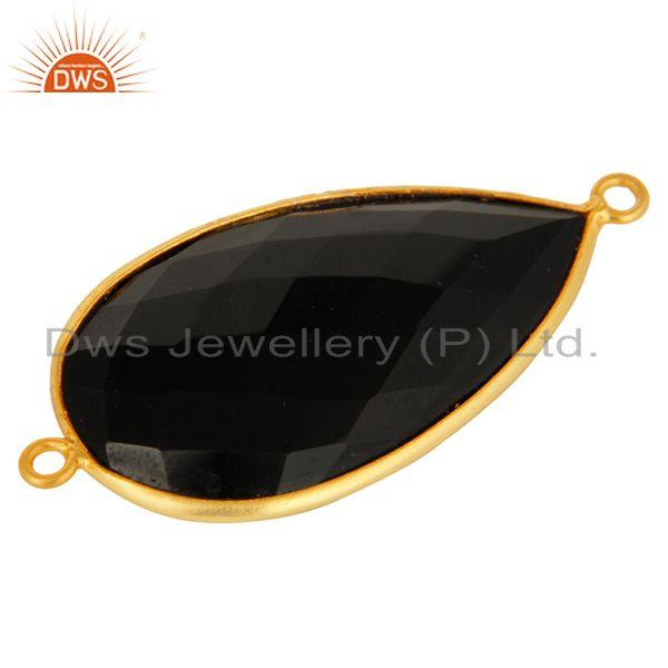 Exporter 18K Gold Plated Sterling Silver Black Onyx Gemstone Connector