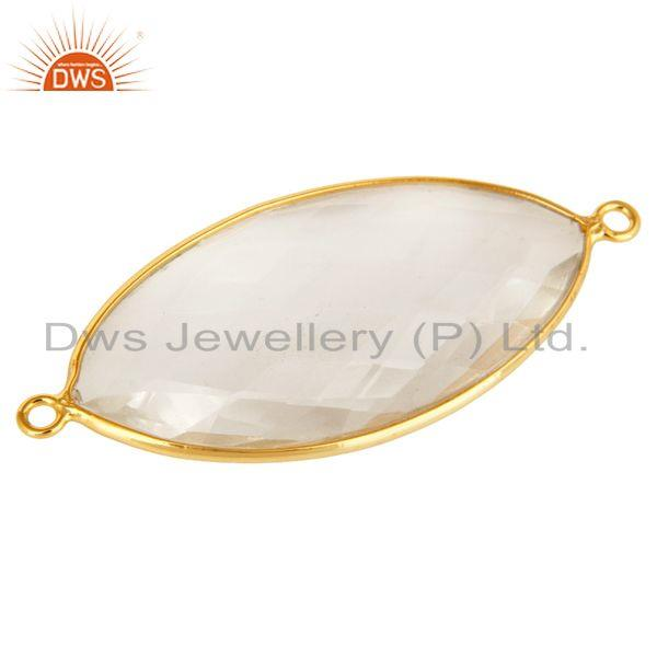 Exporter 18K Yellow Gold Plated Sterling Silver Crystal Quartz Bezel Set Connector