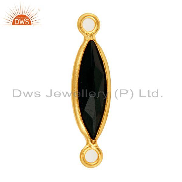Exporter 18K Gold Plated Sterling Silver Black Onyx Marquoise Gemstone Connector Jewelry