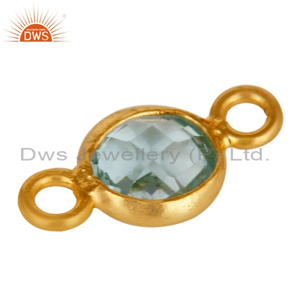 Exporter 18K Yellow Gold Over Sterling Silver Blue Topaz Gemstone Connector Jewelry