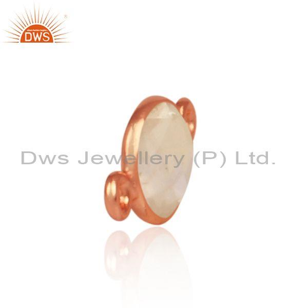 Rose quartz set rose gold on 925 silver jewelry findings