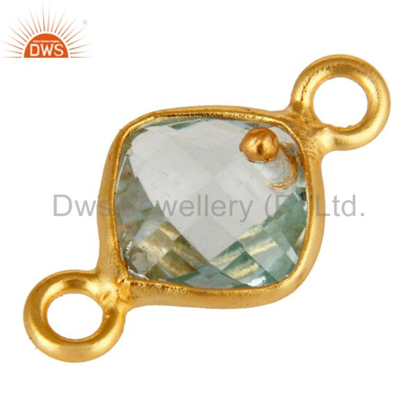 Exporter 18K Yellow Gold Plated Sterling Silver Natural Blue Topaz Bezel Set Connector