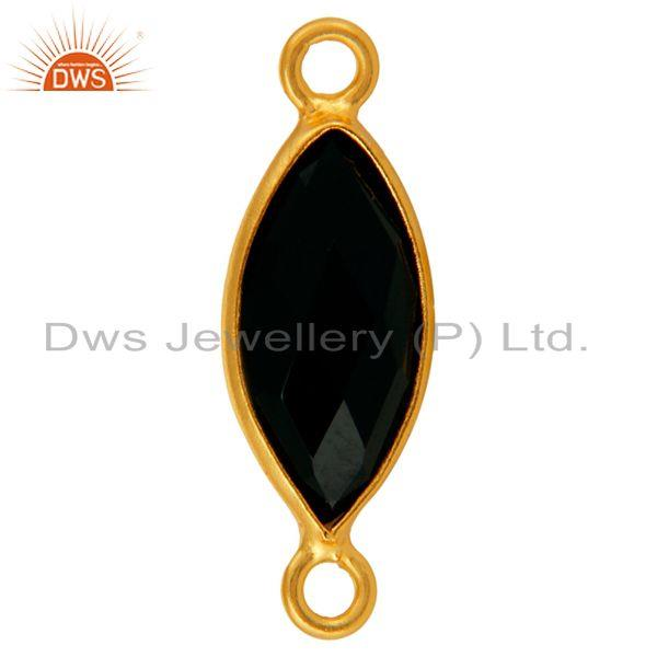Exporter Black Onyx Marquoise Gemstone 18K Gold Plated Sterling Silver Connector Jewelry