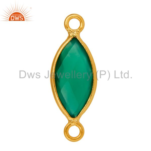 Exporter Marquise Cut Green Onyx Gemstone Gold Plated Sterling Silver Connector