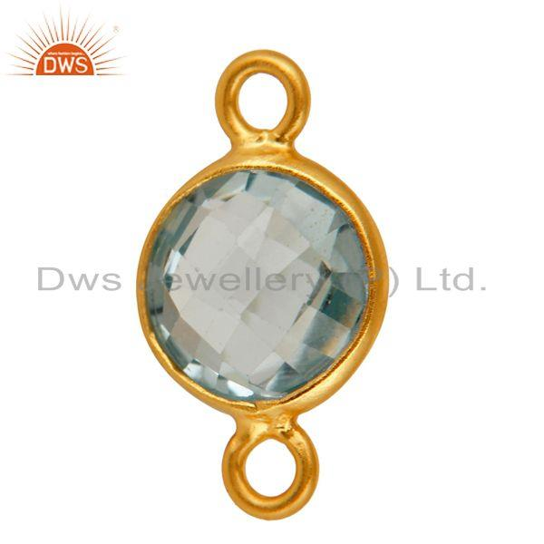 Exporter Natural Blue Topaz Gemstone Sterling Silver Connector - Yellow Gold Plated