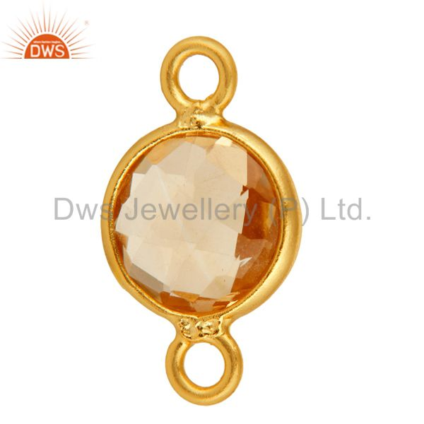 Exporter Natural Citrine Gemstone Bezek-Set Gold Plated Sterling Silver Connector Jewelr