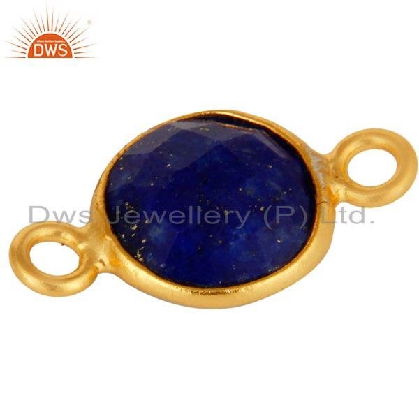 Exporter 18K Yellow Gold Plated Sterling Silver Lapis Lazuli Gemstone Connector Jewelry