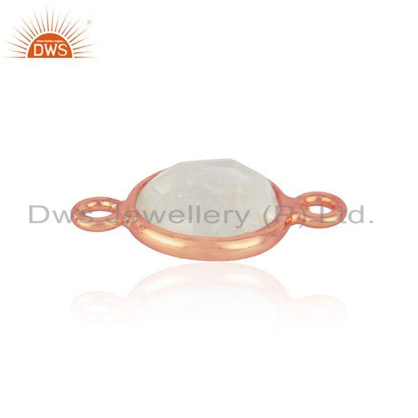 18k rose gold plated sterling silver rainbow moonstone gemstone connector jewelry