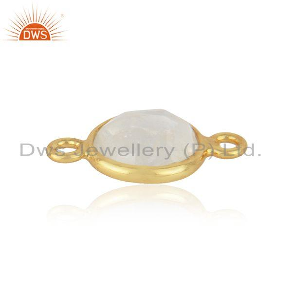 18k yellow gold plated sterling silver rainbow moonstone gemstone connector jewelry