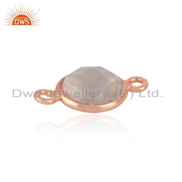 18k rose gold plated sterling silver rose quartz gemstone connector jewelry