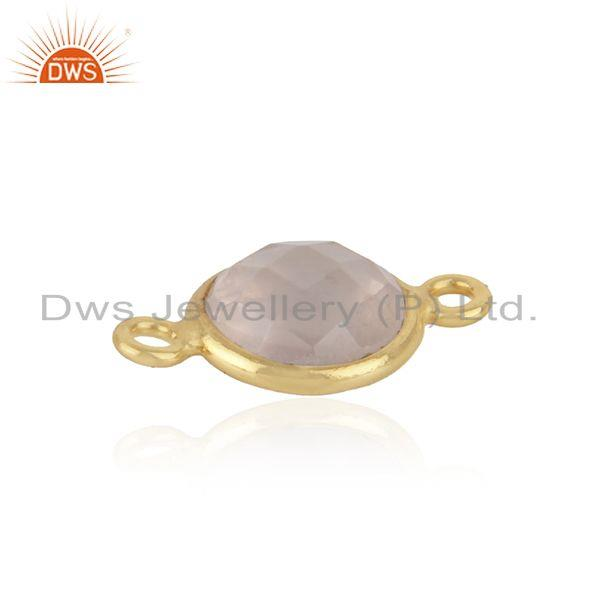 18k yellow gold plated sterling silver rose quartz gemstone connector jewelry