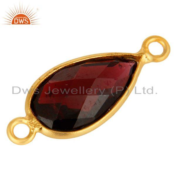 Exporter 925 Sterling Silver Garnet Gemstone Bezel Set Connector With Gold Plated