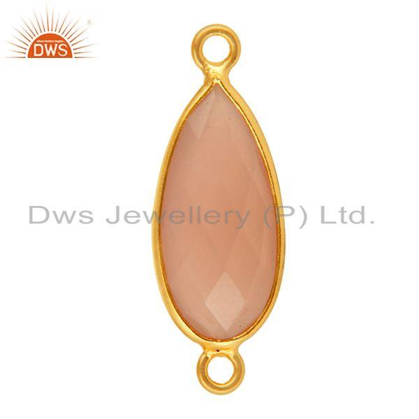 Exporter Rose Chalcedony Faceted Drop Bezel Gemstone Gold Plated Sterling Silver Connect