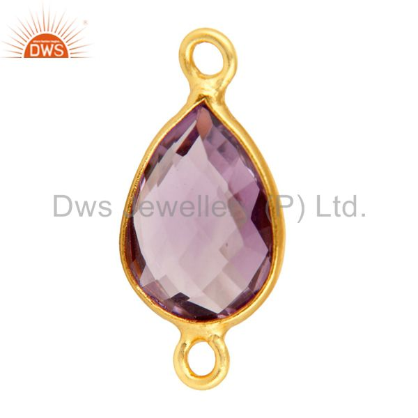 Exporter Faceted Amethyst Gemstone Sterling Silver Connector With Yellow Gold Plated