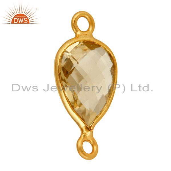 Exporter Checkerboard Lemon Topaz Gemstone Sterling Silver Gold Plated Bezel Connector