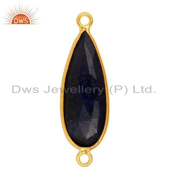 Exporter 18K Yellow Gold Over Sterling Silver Sapphire Blue Corundum Connector Jewelry