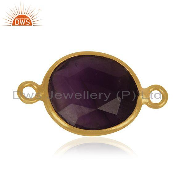 Exporter Amethyst Gemstone Gold Plated 925 Silver Jewelry Connector Findings Manufacturer